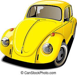coche, pasado de moda, amarillo
