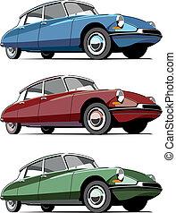 coche, pasado de moda, francés