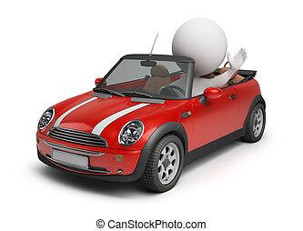 coche pequeño, 3d, -, gente