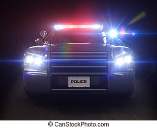 coche, policía, crucero