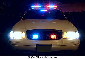 coche, policía, luces