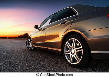 coche, rear-side, vista