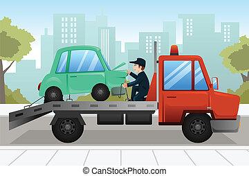 coche, remolque, abajo, roto, camión, remolcar