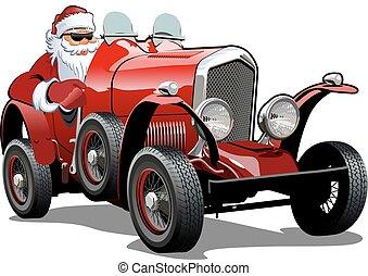 Coche retro de Navidad de dibujos animados