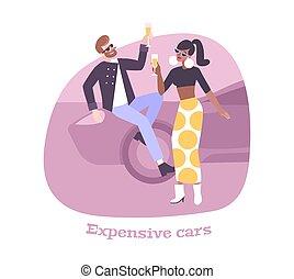 coche, rico, composición, gente