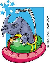 coche, rinoceronte, parachoques