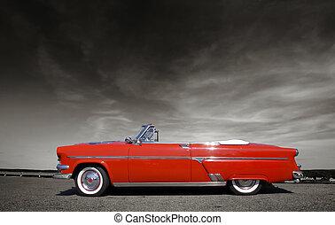 coche, rojo, clásico