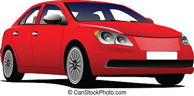 coche, sedán, vector, illu, road.