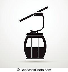 coche, silueta, cable, manera, transporte, soga, negro, icono