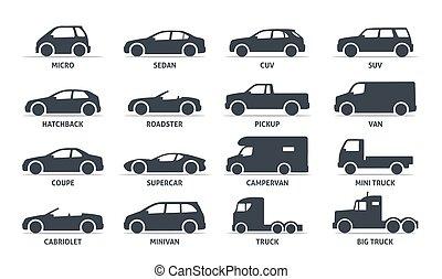 coche, silueta, vector, automobile., cuerpo, objetos, conjunto, shadow., aislado, negro, tipo, fondo blanco, iconos, tela, ilustración, variantes, modelo