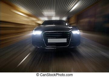 coche, túnel, va