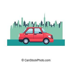 coche, transporte, vehículo, cityscape