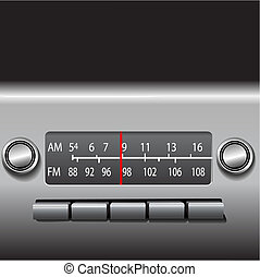 coche, unidad, radio, tablero de instrumentos, tiempo, fm