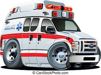 coche, vector, caricatura, ambulancia