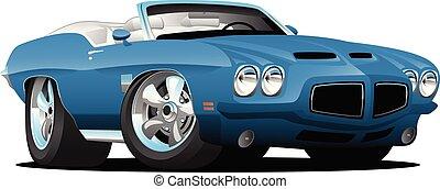 coche, vector, clásico, norteamericano, estilo, caricatura, músculo, seventies, convertible, ilustración
