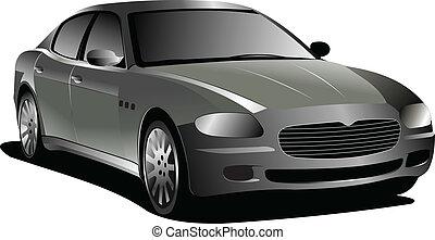 coche., vector, gris, sedan., ilustración