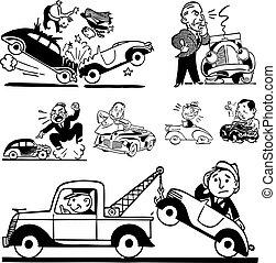 coche, vector, retro, accidente, gráficos