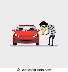 coche, vector, seguro, robo, ilustración
