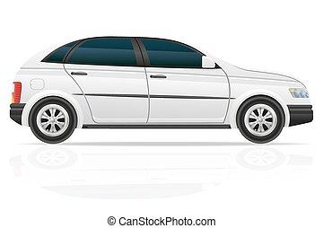 coche, vector, ventana trasera, ilustración