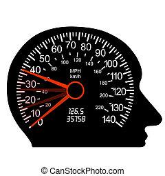 coche, velocímetro, cerebro humano