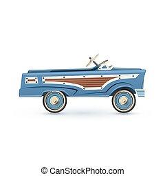 coche., vendimia, juguete viejo, pedal, azul
