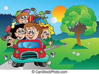 coche, yendo, vacaciones, familia