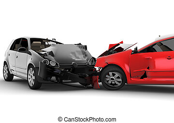 coches, accidente, dos