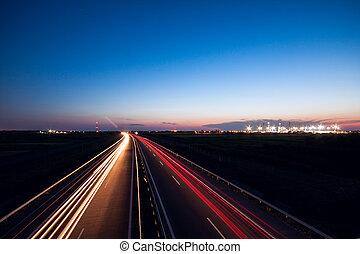 coches, carretera, exceso de velocidad