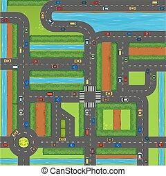 coches, cima, calle, vista