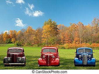 coches, colorido, clásico