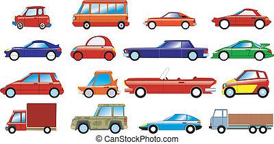 coches, conjunto, simbólico