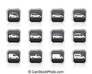 coches, diferente, tipos, iconos