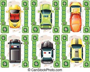 coches, diferente, topview, tipos
