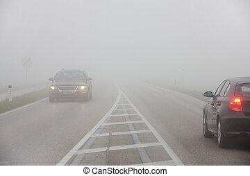 coches, niebla, camino