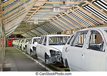coches, planta, fila, coche