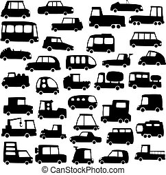 coches, siluetas, conjunto, caricatura