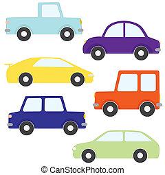 coches, vector, conjunto, caricatura