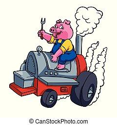 Cochino chef montando un barril BBQ