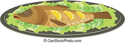 cocido al horno, plato, pez