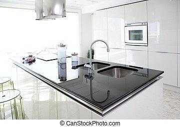 Cocina blanca moderna diseño de interior limpio
