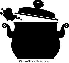 cocina, cacerola, (silhouette)