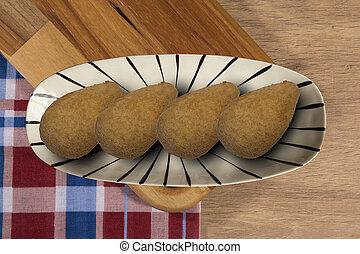 cocina, chicken., disecado, coxinha, tradicional, brasileño, bocados