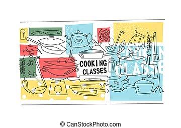 cocina, clases, plantilla