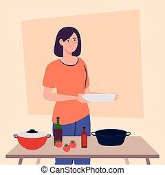 cocina, cocina, escena, mujer
