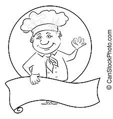 Cocina con afiche, perfil