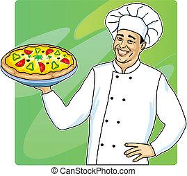 Cocina con pizza