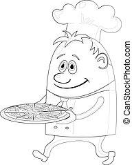 Cocina con pizza, contorno