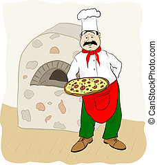 Cocina con pizza.