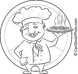 Cocina con pizza, perfil