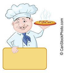 Cocina con pizza y poster
